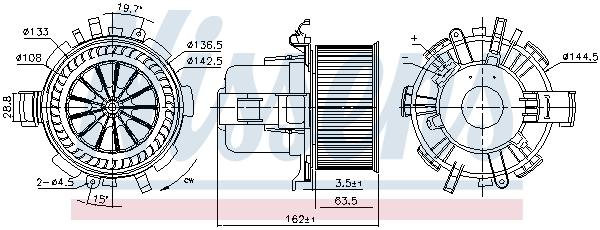 Moteur de ventilateur de chauffage (X1)