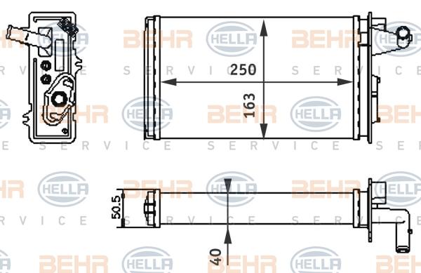 Radiateur de chauffage HELLA 8FH 351 313-041 (X1)