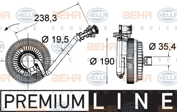 Embrayage de ventilateur refroidissement HELLA 8MV 376 734-021 (X1)