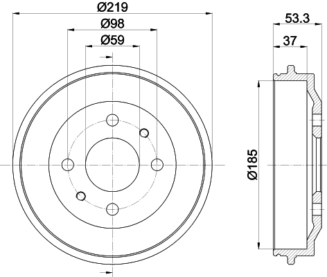 Kit tambours avec roulements (Jeu de 2)