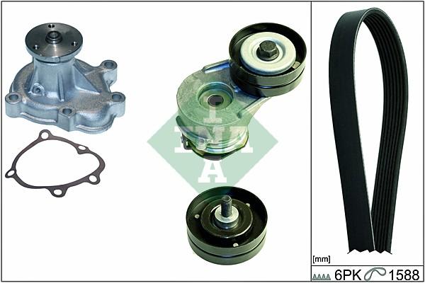 Pompe à eau + jeu de courroie d'accessoires (X1)