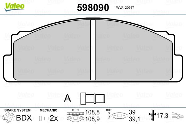 Plaquettes de frein avant VALEO 598090 (Jeu de 4)
