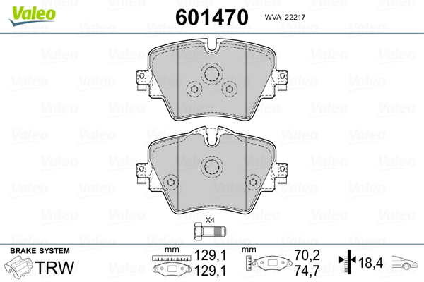 Plaquettes de frein avant VALEO 601470 (Jeu de 4)