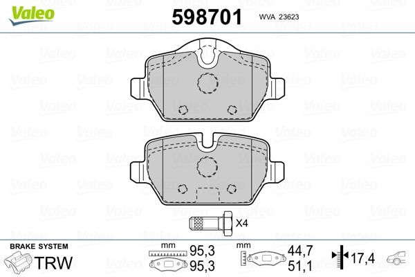 Plaquettes de frein arriere VALEO 598701 (Jeu de 4)