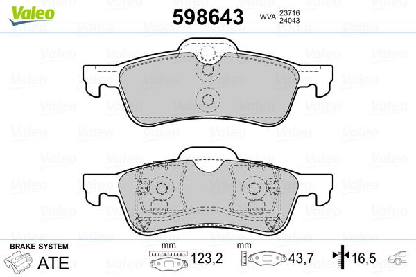 Plaquettes de frein arriere VALEO 598643 (Jeu de 4)