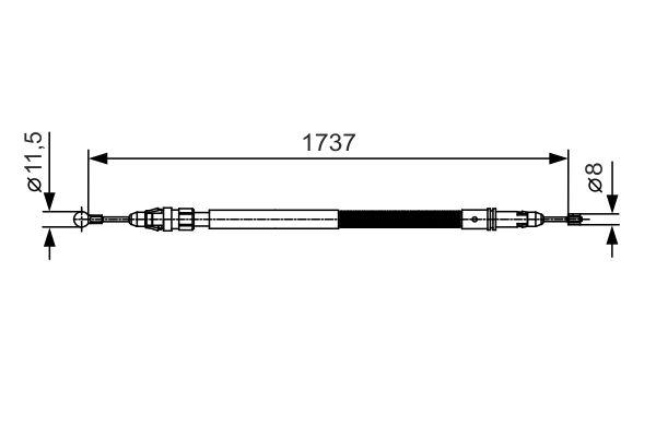 Cable de frein à main BOSCH 1 987 482 008 (X1)