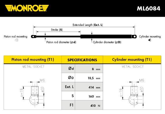 Verin de coffre MONROE ML6084 (X1)