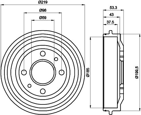 Kit tambours avec roulements (X1)