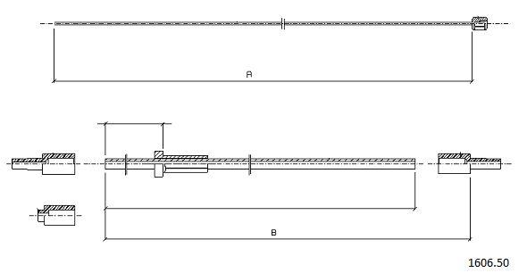 Cable d'ouverture capot CABOR 1606.50 (X1)