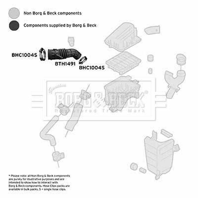 Tuyau d'aspiration, alimentation d'air BORG & BECK BTH1491 (X1)