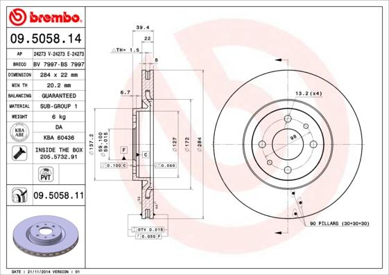 Disque de frein BREMBO 09.5058.11 (Jeu de 2)